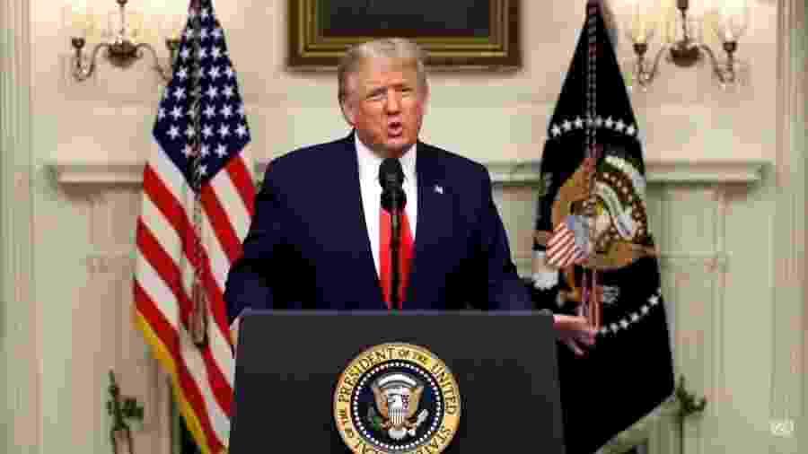 Presidente americano Donald Trump discursa em vídeo gravado na abertura da Assembleia Geral da ONU de 2020 - Reprodução/YouTube