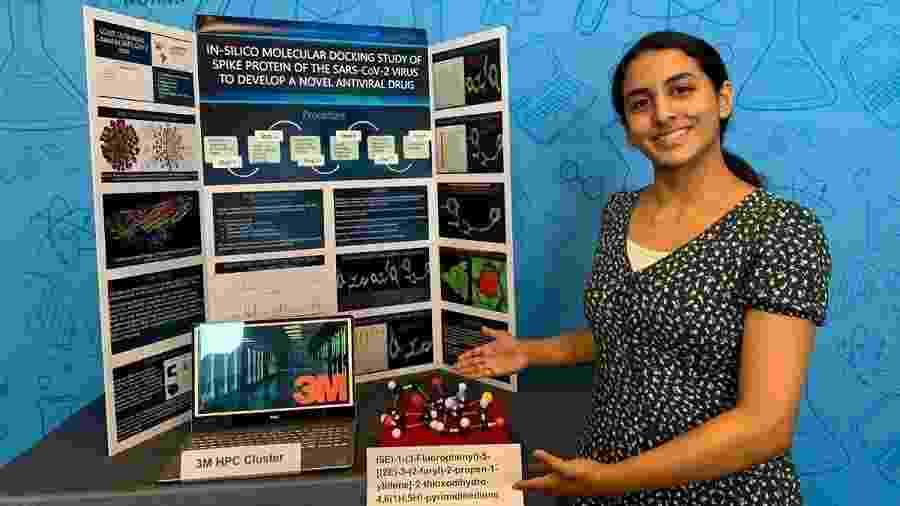 """Anika Chebrolu é a jovem pesquisadora de 14 anos que ganhou o prêmio de """"Melhor Jovem Cientista da América de 2020"""" - Reprodução/3M"""