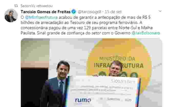 Postagem de 15.Setembro.2020 na página da Secom do governo Bolsonaro - Reprodução - Reprodução