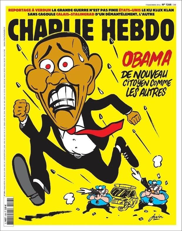 10.nov.2016 - 'Charlie Hebdo' retrata 'ex-presidente' Obama fugindo de balas da polícia