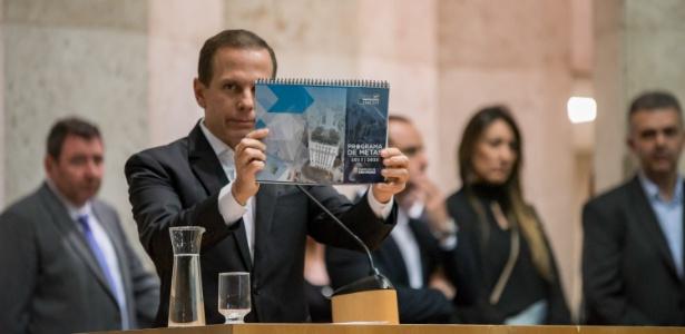 Prefeito João Doria no dia do lançamento do plano de metas para São Paulo