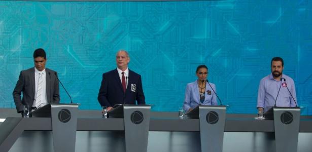 Ciro, Marina e Boulos usaram adesivos com seus números de urna; Daciolo, não