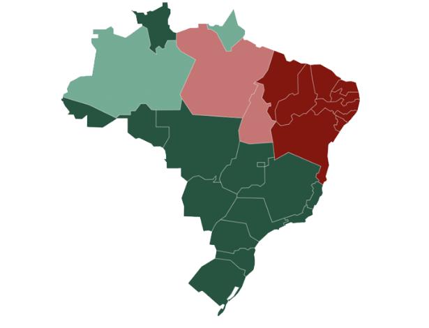 Mapa mostra desempenho de Bolsonaro (verde) e Haddad (vermelho) nos Estados - cores mais claras indicam vitória mais apertada
