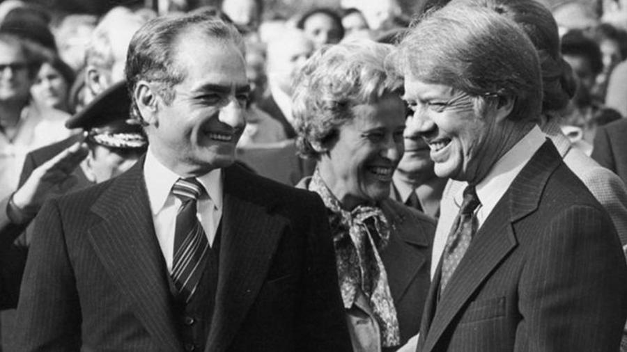Jimmy Carter (à dir.) foi o último presidente americano a fazer uma visita de Estado ao Irã antes de os EUA romperem relações com o país do Oriente Médio em 1980, após a Revolução Islâmica - Getty Images/BBC