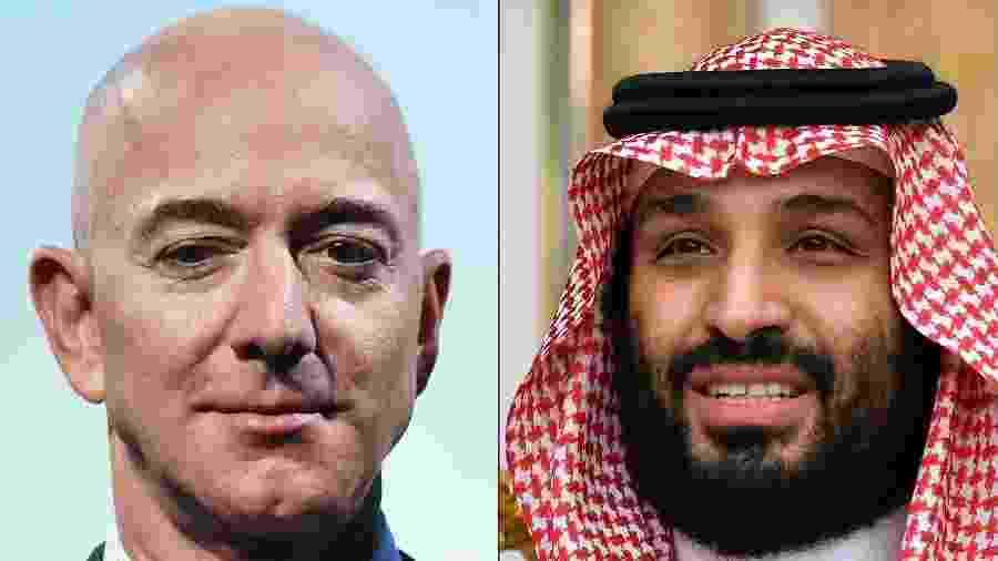 O norte-americano Jeff Bezos (à esquerda), fundador da Amazon, e o príncipe saudita Mohammed bin Salman, suspeito de ter hackeado o celular do executivo - Mandel Ngan/AFP