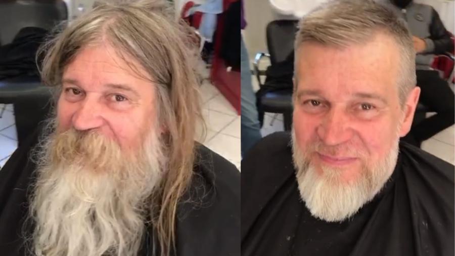 Um morador de rua recebeu uma transformação no visual gratuita; o resultado foi compartilhado no TikTok pelo barbeiro francês David Kodat - Reprodução/TikTok/@davidkodatofficial