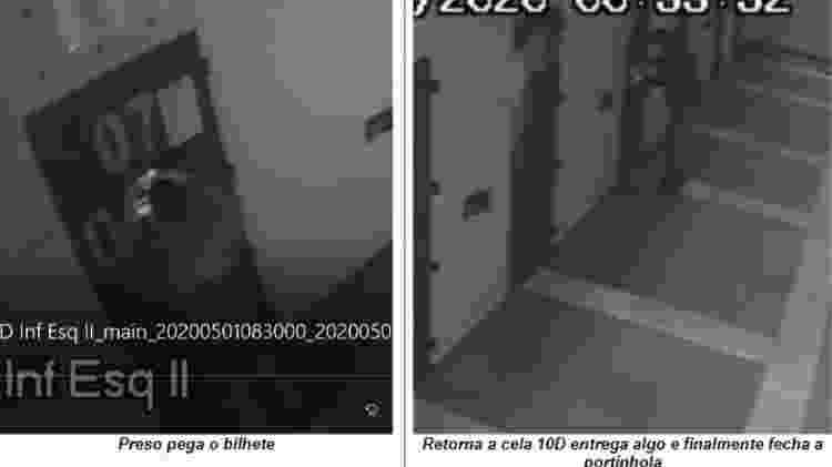 16.jun.2021 - Imagens internas de presídio federal de Catanduvas (PR) mostram agente penal Docimar Pinheiro entregando bilhete na cela de um detento - Reprodução/PF - Reprodução/PF