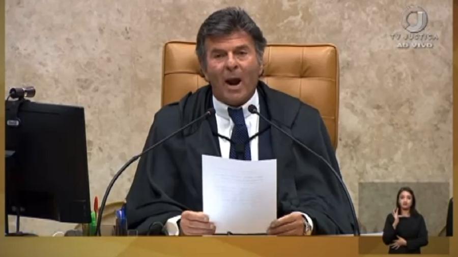 O ministro Luiz Fux, presidente do Supremo, durante pronunciamento em que anuncia ter desistido da reunião entre os Três Poderes: Bolsonaro não tem compromisso com a própria palavra - Reprodução/TV Justiça
