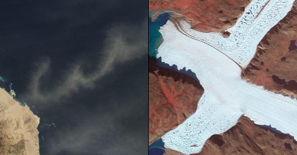 """6.jan.2015 - A letra """"W"""" foi escrita com a poeira pairando em cima do Mar Vermelho e a letra """"X"""" foi vista em uma imagem com cores alteradas na ponta noroeste da geleira Leidy, na Groenlândia"""
