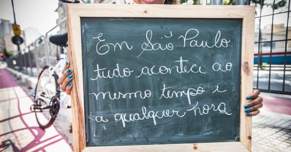 """""""O que eu mais gosto em São Paulo é pensar que tudo acontece ao mesmo tempo e a qualquer hora. Se você quiser algo às duas da manhã, você vai encontrar""""."""