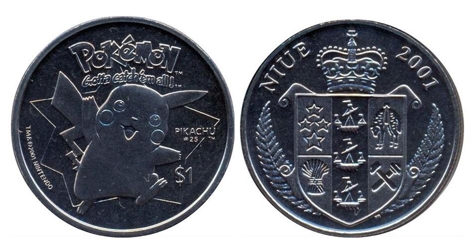Moeda de 1 dólar de Niue, ilha no Pacífico que é um território associado da Nova Zelândia, estampada com o Pikachu; a edição faz parte de uma série especial com Pokémons
