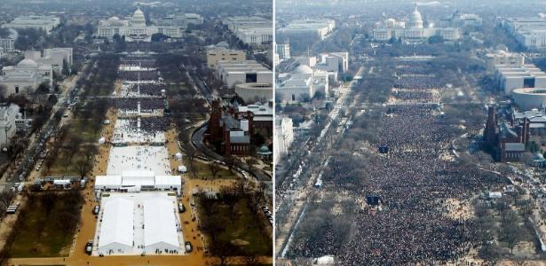 Comparação entre os públicos às cerimônias de posses de Donald Trump (à esq.), em 2017, e Barack Obama (à dir.), em 2009, em Washington