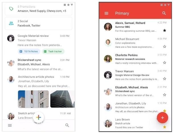 Novo visual e antiga aparência do app do Gmail
