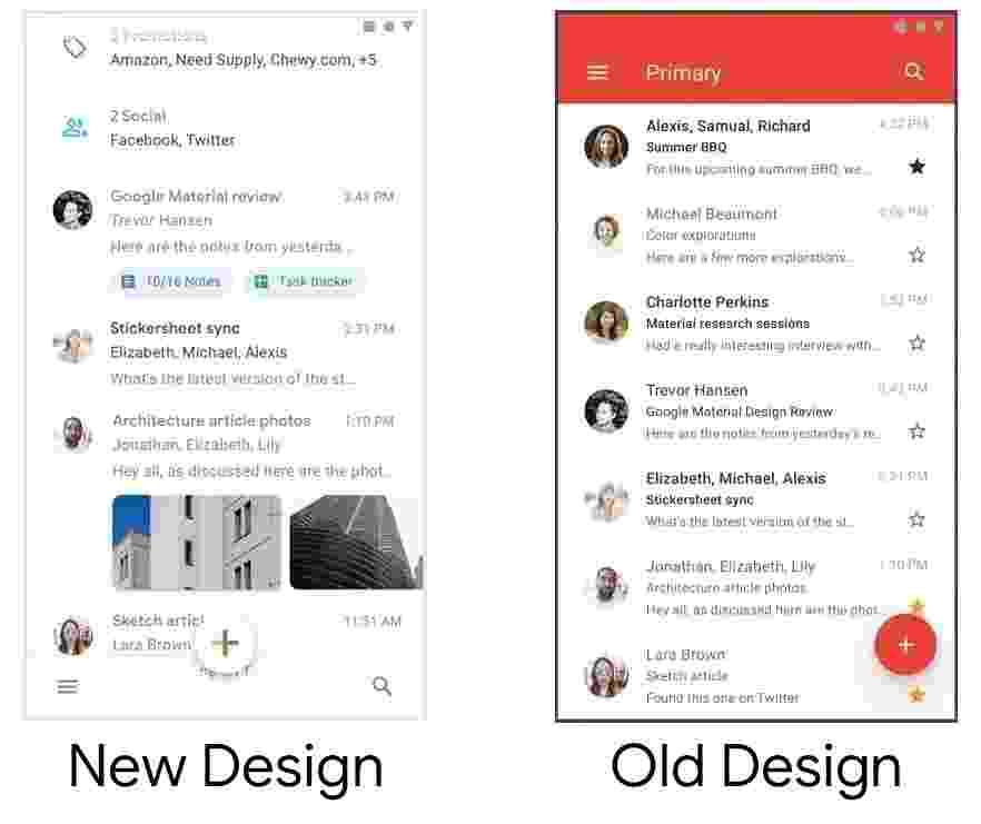 Novo visual e antiga aparência do app do Gmail - Adam Grabowski e Nicolo Bianchino/Arquivo Pessoal