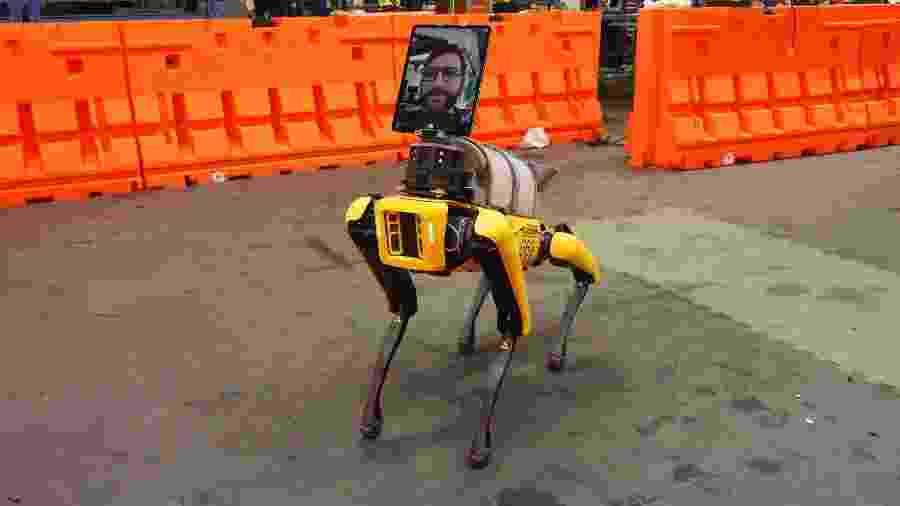 O cão-robô Spot foi equipado com uma câmera para trabalhar no combate ao novo coronavírus - Divulgação