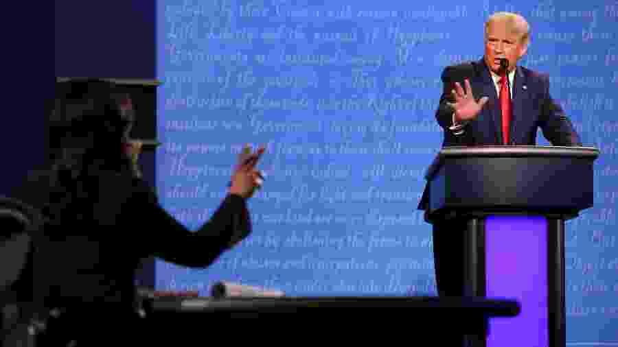 Donald Trump participa de debate contra o rival, o democrata Joe Biden - Justin Sillivan /Getty Images /AFP