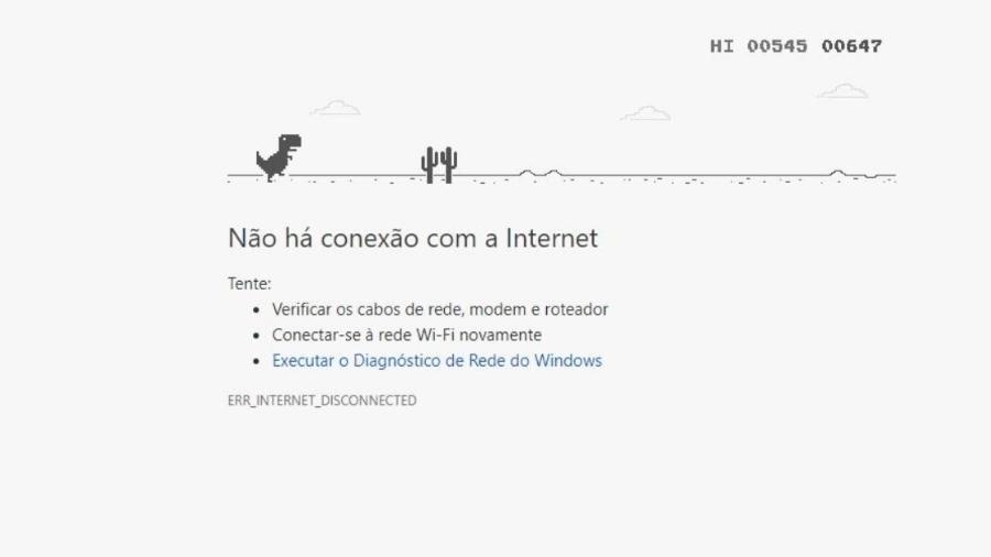 Joguinho do dinossauro do Google Chrome pode ajudar a matar o tempo enquanto internet não volta - Reprodução