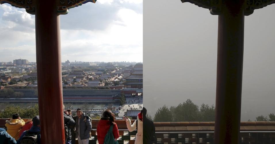 Experiência de turistas também é muito afetada pela poluição. As duas fotos mostram pessoas observando a Cidade Proibida, tradicional ponto turístico chinês, do alto do parque Jingshan. Na foto do dia 2 de dezembro, à esquerda, monumento é visto com perfeição. Já com o ar poluído, em 1 de dezembro, não é possível ver nada