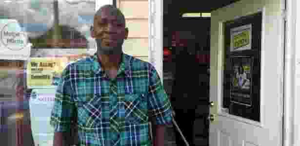 9.jun.2016 - Tony Martin do lado de fora de sua loja, que fica perto da casa de infância de Muhammad Ali - BBC - BBC