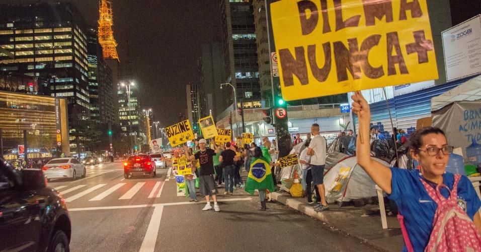 30.ago.2016 - Protesto a favor do impeachment da presidente afastada, Dilma Rousseff, na avenida Paulista, em São Paulo (SP)