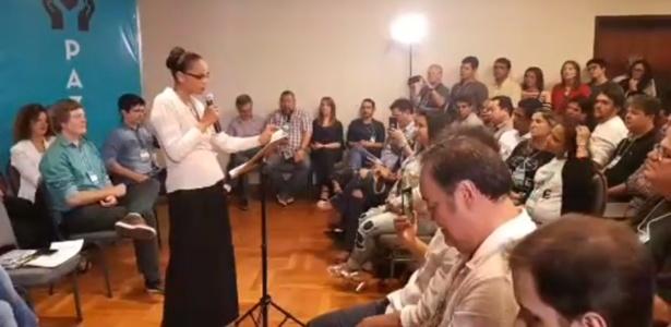 Marina Silva, da Rede, durante o anúncio de sua pré-candidatura
