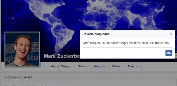 Teste do UOL sobre bloqueio da página de Mark Zuckerberg