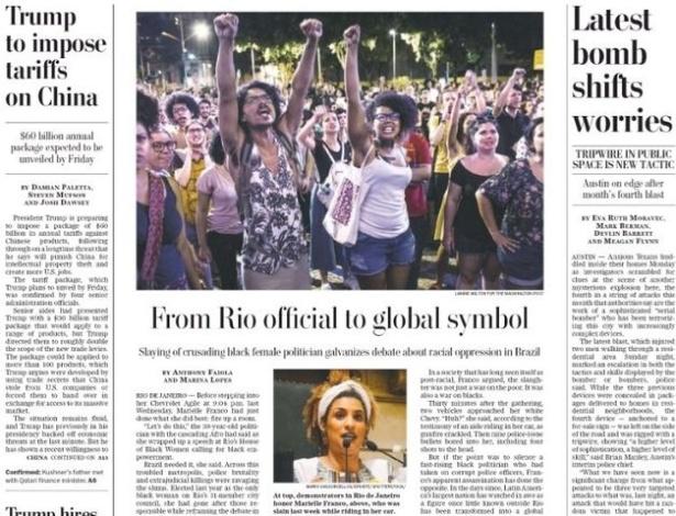 """Marielle Franco estampa a primeira página do jornal """"Washington Post"""""""