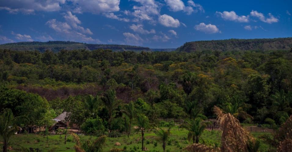 Vista da propriedade de Lusio Teles, onde é possível observar o cerrado ainda preservado na região com cadeia de serras ao fundo