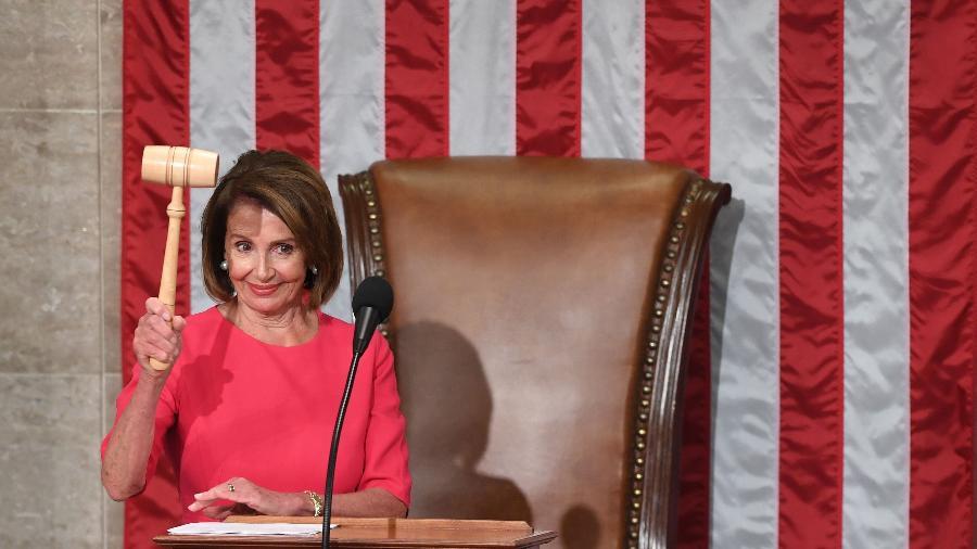 A democrata Nancy Pelosi após ser eleita presidente da Câmara dos Deputados dos Estados Unidos - SAUL LOEB / AFP