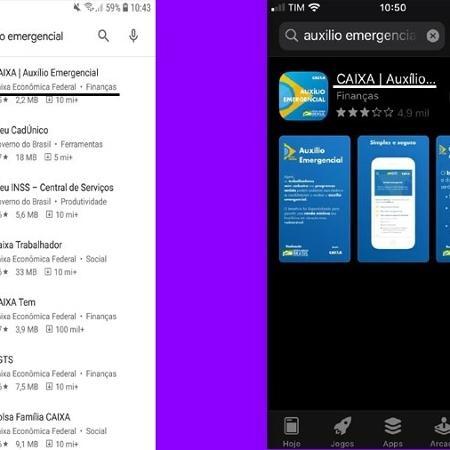 App Caixa Auxílio Emergencial na Play Store e App Store. Interessados devem baixar o aplicativo para requerer o benefício - Reprodução