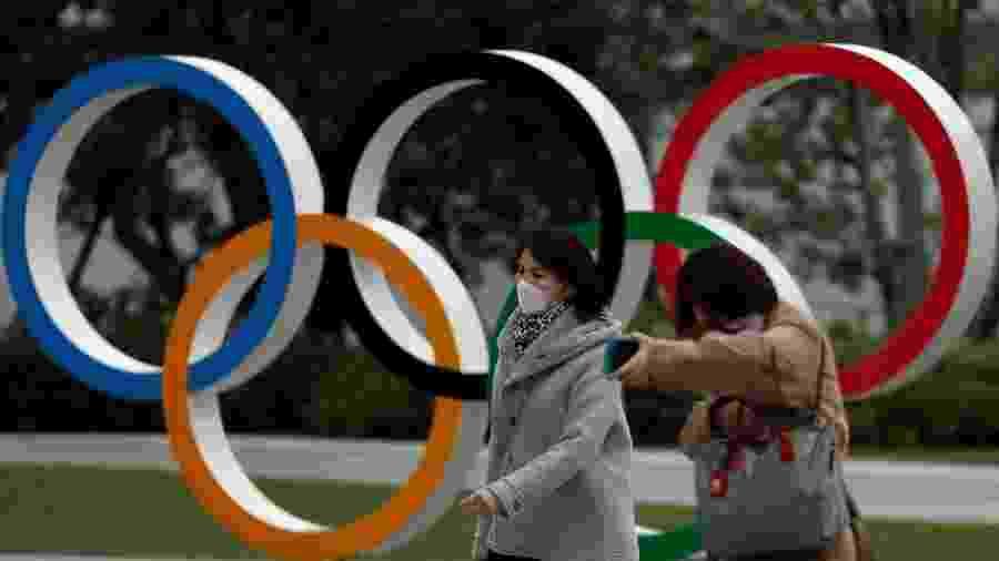 Pedestres caminham em frente a museu olímpico em Tóquio - ISSEI KATO