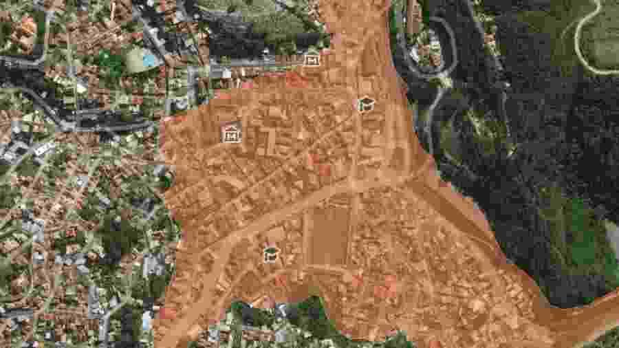 Mapa demonstra área de Nova Lima (MG) que seria atingida caso barragem se rompesse - Repórter Brasil