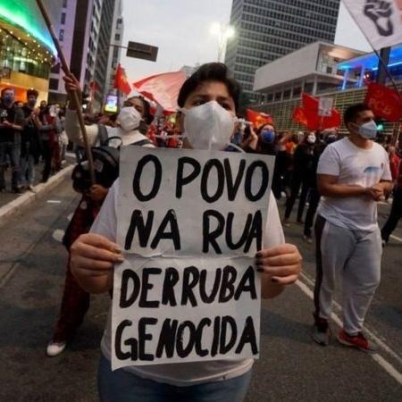 Manifestante durante protesto contra Bolsonaro em 19 de junho, em São Paulo - Getty Images
