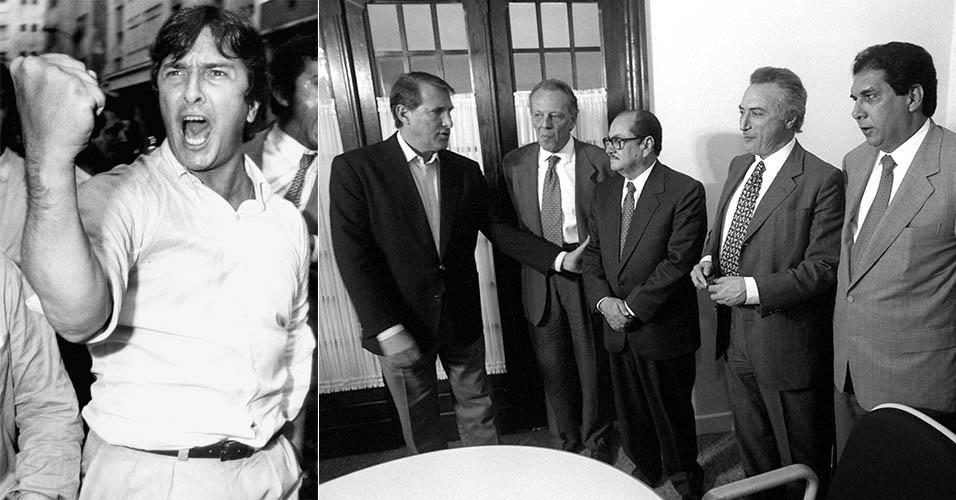 O então candidato à Presidência da República pelo PRN Fernando Collor se exalta durante confrontos entre simpatizantes em Niterói (RJ), em 1989; Reunião do PMDB: Orestes Quércia, José Pinotti, Paes de Andrade, Michel Temer e Jader Barbalho, em 1995