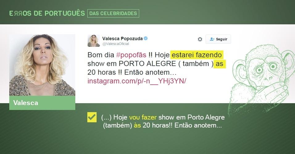 erros de português de celebridades - Valesca