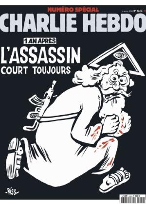O jornal satírico francês Charlie Hebdo divulga a imagem da capa da edição desta quarta-feira (6)