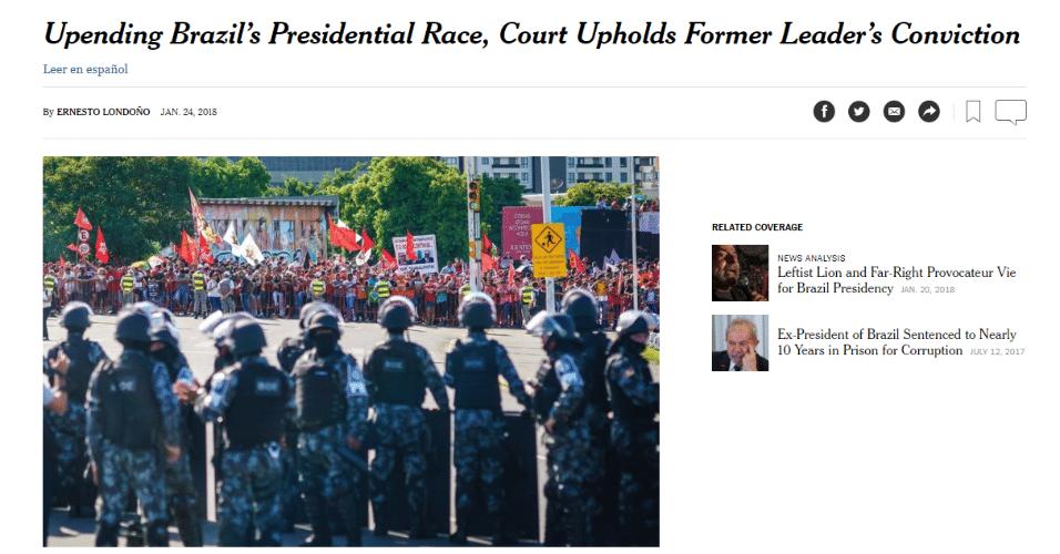 """""""New York Times"""" destacou que derrota muda as eleições 2018"""