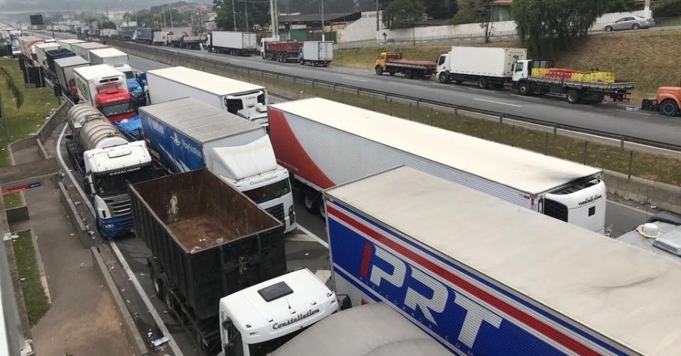 27.mai.2018 - Caminhoneiros permanecem às margens da rodovia Régis Bittencourt, na região de Embu das Artes, na Grande São Paulo, no sétimo dia de paralisação da categoria