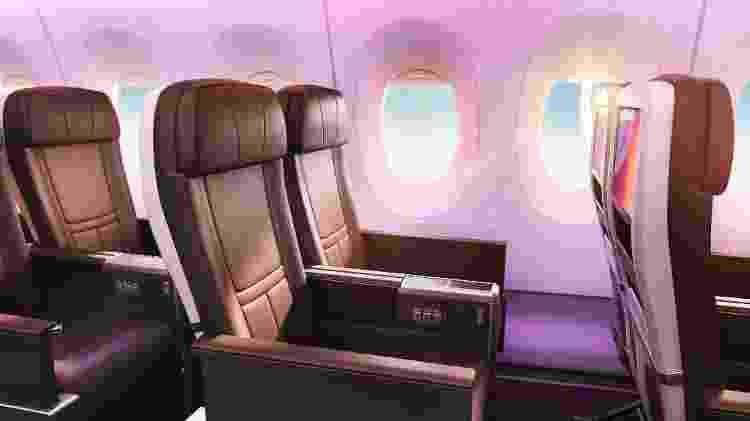 O espaço para as pernas na classe premium é maior que em outros aviões da empresa - Divulgação/Virgin Atlantic