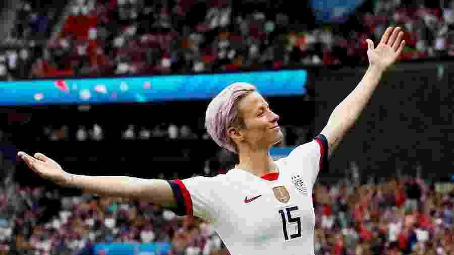 Megan Rapinoe durante as quartas de final da Copa do Mundo de futebol feminino entre Estados Unidos e França -