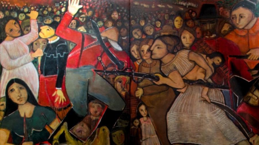 A vitória das heroínas de Tejucupapo tem sido contada de geração a geração na zona da mata de Pernambuco. Na foto, painel da artista Tereza Costa Rêgo sobre a batalha - Jan Ribeiro/Secult-PE/Fundarpe