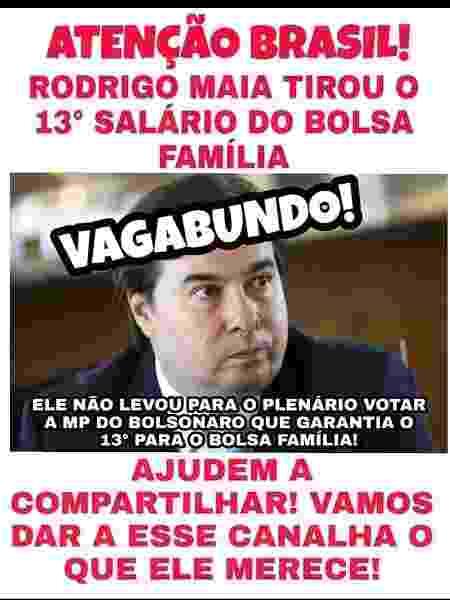 Montagem que circula nas redes bolsonaristas com ataques ao deputado Rodrigo Maia (DEM) - Reprodução - Reprodução