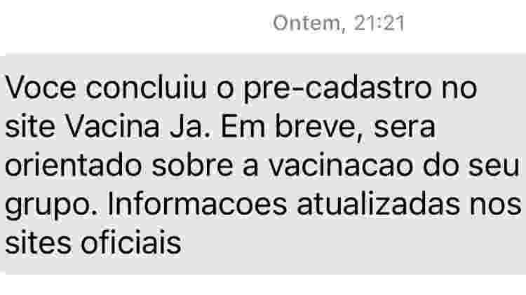 Mensagem automática após cadastro no site do governo de São Paulo - Reprodução - Reprodução