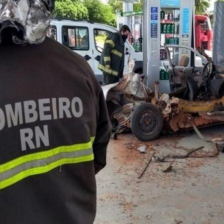 12.jul.2020 - Explosão provocada por conversão clandestina de veículo para GLP em Natal, no Rio Grande do Norte - Divulgação