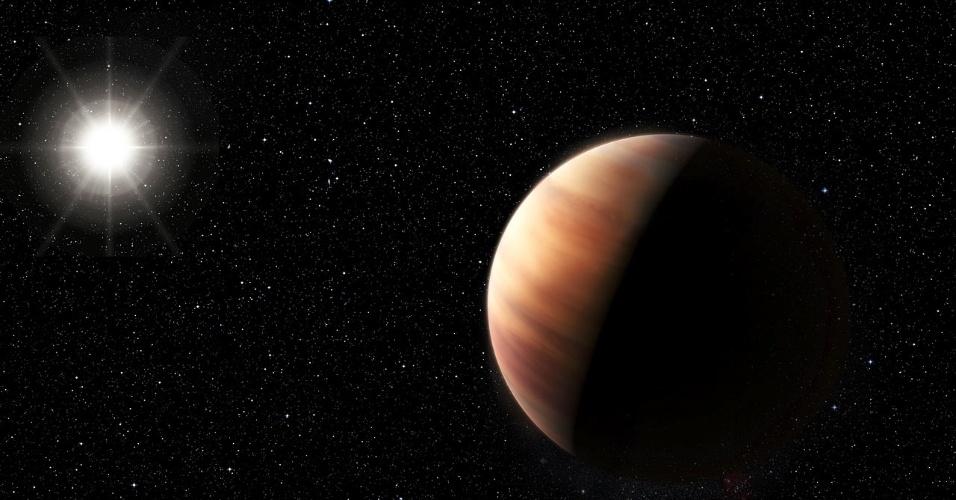 15.jul.2015 - Astrônomos identificaram um planeta parecido com Júpiter, de massa equivalente, a orbitar uma estrela parecida com o Sol, em outro sistema planetário. Os novos astros descobertos mantêm a mesma distância dos astros já conhecidos do nosso Sistema Solar, o que sugere uma semelhança entre ambos sistemas. A HIP indica que possam existir também planetas rochosos em órbitas mais próximas da estrela. Os cientistas utilizaram na descoberta o telescópio de 3,6 metros do ESO (Observatório Europeu do Sul). A imagem é uma concepção artística