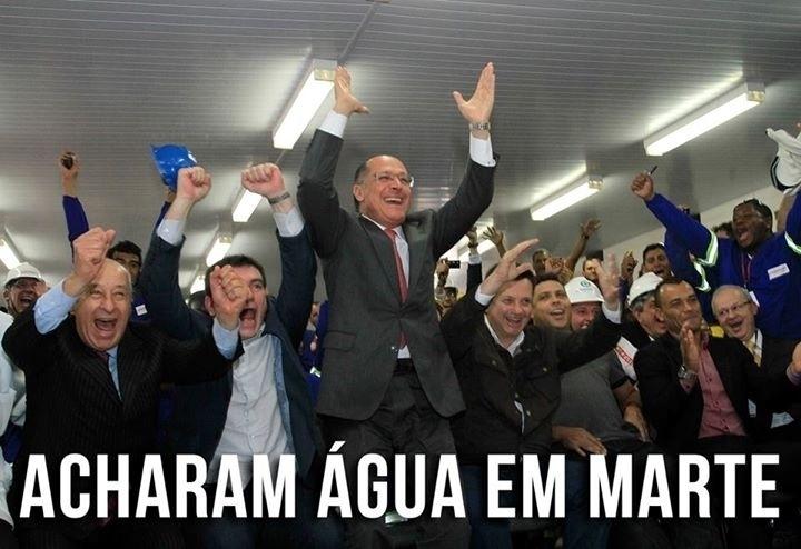 28.set.2015 - Internautas fazem piada juntando a descoberta de água em Marte e a crise hídrica no Estado de São Paulo, em imagem com o governador Geraldo Alckmin comemorando