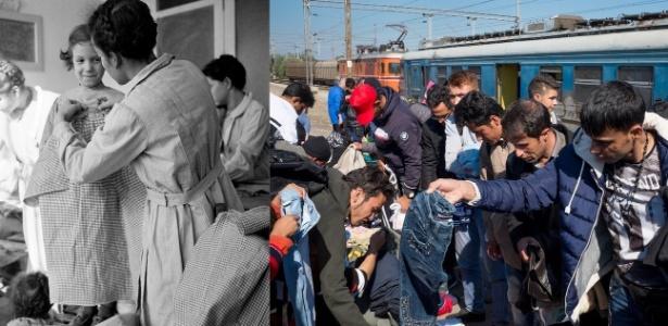 Itens básicos como roupas são sempre uma necessidade para refugiados. Olha a felicidade da garota em 1949, na Itália, ao ter as medidas registradas para um novo vestido, em orfanato de Nápoles. Na Macedônia em 2015, refugiados síros, afegãos e iraquianos coletam roupas de inverno que foram distribuídas
