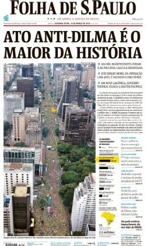 SP: Capa do jornal Folha de S.Paulo de 14 de março de 2016