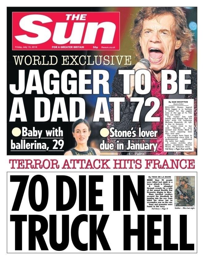 """""""70 morrem em inferno com caminhão"""", estampou o periódico britânico The Sun"""