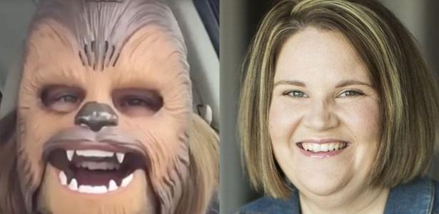 'Mamãe Chewbacca' em dois momentos: a americana Candace Payne diz que a máscara de brinquedo mudou sua vida e de sua família